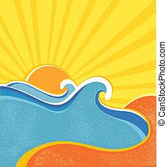夏, poster., イラスト, 暑い, ベクトル, 海, 波, 日, 風景