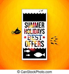 夏, poster., illustration., 活版印刷, ホリデー, 明るい, ベクトル, design.