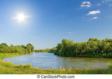夏, river.