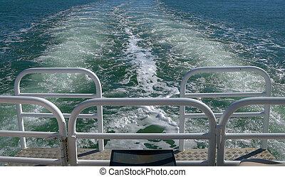 夏, sailing., 概念, 休暇, 行きなさい, の間, 休日, ボート