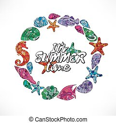 夏, seashell., pattern., フレーム, -, starfish., wreath., 海, shell., horse.