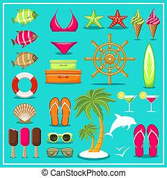 夏, set., 浜