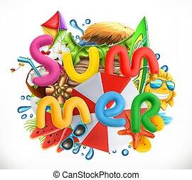 夏, set., 3d, ベクトル, 休日, 浜, アイコン