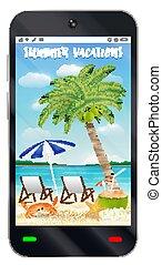 夏, smartphone, スクリーン, 休暇, 砂ビーチ