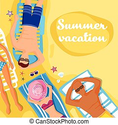 夏, sunbathing, 人々, 海岸, 休暇, トロピカル, 砂, 休日, 浜, あること