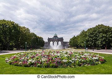夏, triumphal, parc, アーチ, ベルギー, 花, ブリュッセル, cinquantenaire