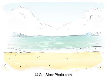 夏, vacation., 海岸, 砂, ベクトル, 海, 浜
