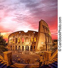 夕方, イタリア, ローマ, 時間, の間, colosseum