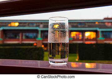 夕方, ガラス, 水, ライト, 背景, バルコニー
