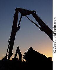 夕方, -, サイト, 装置, 建設, 掘削機, ミキサー, 破壊