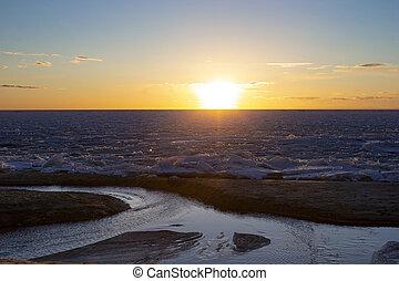 夕方, フィンランド, パノラマ, 湾