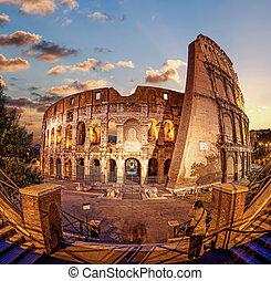 夕方, ローマ, colosseum, イタリア