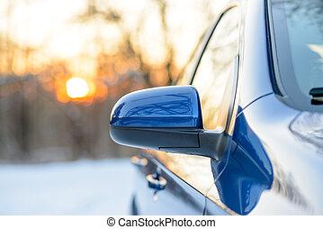 夕方, 冬, 太陽, イメージ, の上, 後部ビュー, 鏡, 終わり, 側, 風景, 自動車