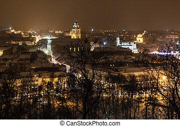 夕方, 冬, 雪が多い, vilnius, リスアニア, gediminas