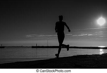 夕方, 操業, スポーツマン, 前方へ, 影で覆われる, 浜, 砂