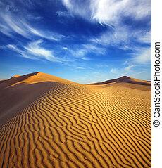夕方, 砂漠の 景色