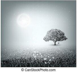 夕方, 空, 月, 草, 木, フィールド, 夏