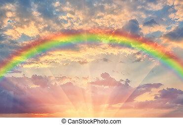 夕方, 美しい, 日没, 虹