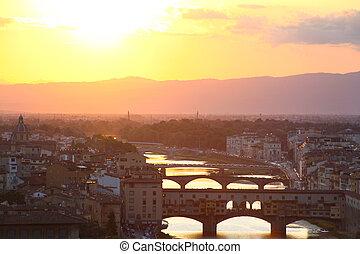 夕方, 青, フィレンツェ, イタリア, 光景, (firenze), スカイライン, 都市, ピンク