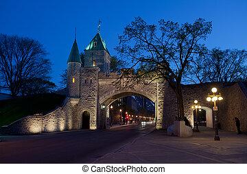 夕闇, ケベック, 壁, 強化された, 都市