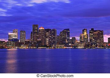 夕闇, ボストン, 海洋, 反射, スカイライン, 超高層ビル