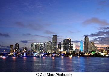 夕闇, マイアミ, ダウンタウンに, フロリダ, アメリカ
