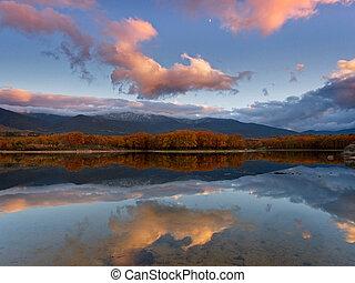 夕闇, 湖, 秋