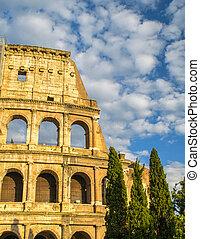 夕闇, 細部, 木, ローマ, 建築である, colosseum