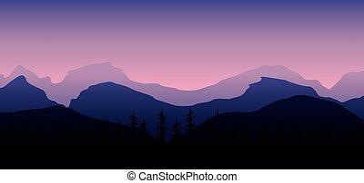 夕闇, 背景, 岩が多い 山, 風景