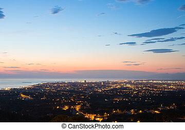 夕闇, 航空写真, トスカーナ, 光景, livorno, 都市