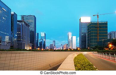 夕闇, guangdong, 通り, 陶磁器, 道, ライト