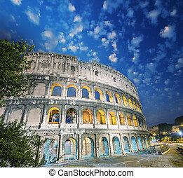 夕闇, italy., ローマ, すばらしい, colosseum, 光景