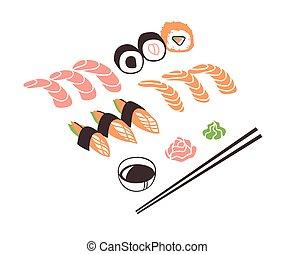 夕食。, ベクトル, 実際, 海, 図画, 手, 引かれる, 仕事, 食品。, インク, アジア人, 寿司ロール, イラスト, 芸術, 創造的