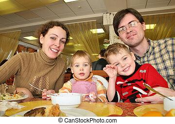 夕食, ホテル, 家族