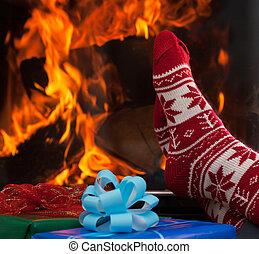 夕食, 後で, クリスマス, リラックスしなさい