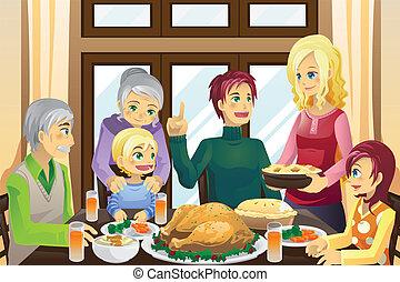 夕食, 感謝祭, 家族