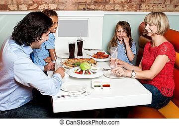 夕食, 楽しむ, 家族, 幸せ