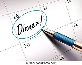 夕食, 言葉, 円, マーク付き
