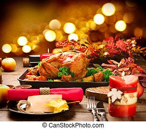 夕食。, 野菜, 装飾される, christmas シチメンチョウ, クランベリー, 焼かれた, ポテト