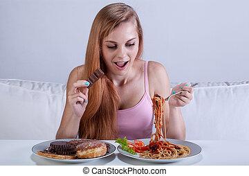 夕食, bulimia, 苦しみ, 女の子, 食べる