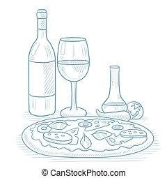 夕食, pizza., ワイン
