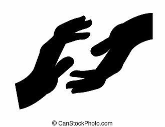 外に手, 手を伸ばす