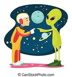 外国人, 会いなさい, time., 宇宙飛行士, 最初に