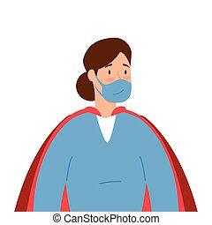 外套, 女性, 医療補助員, 顔, 極度, マスク, 英雄
