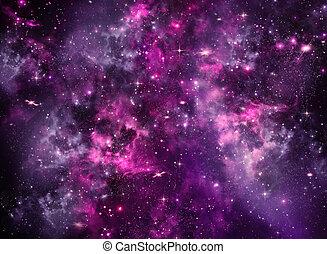 外宇宙, 星が多い空, 海原, 夜