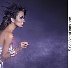 外形, 肖像, ......的, a, 年輕, 黑發淺黑膚色女子, 美麗