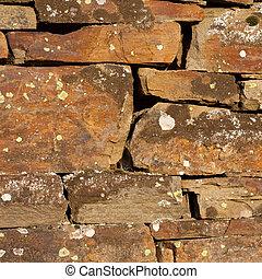 外気に当って変化した, 石の壁, 背景