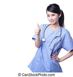 外科医, 医者, の上, 女性, 親指