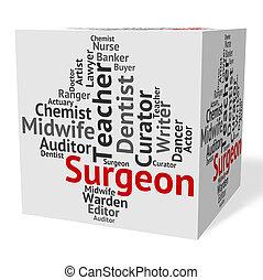 外科醫生, 工作, 顯示, 全科醫師, 以及, md