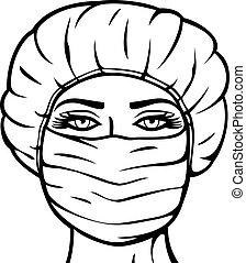 外科, 婦女, 面罩, 醫生